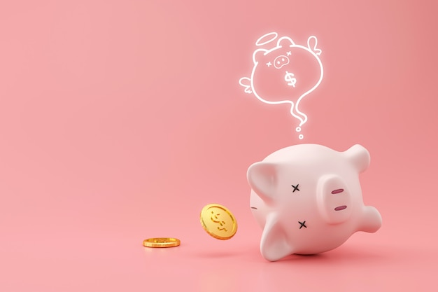 Spaarvarken en gouden muntstukken op roze muur met verloren geldconcept. financiële planning voor de toekomst. 3d-weergave.