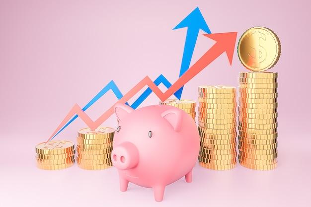 Spaarvarken en gouden muntstukstapel en financiëngrafiek, geldbesparing en investeringsconcept en besparingsideeën en financiële groei.