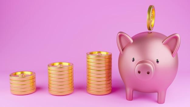 Spaarvarken en munten op een roze achtergrond