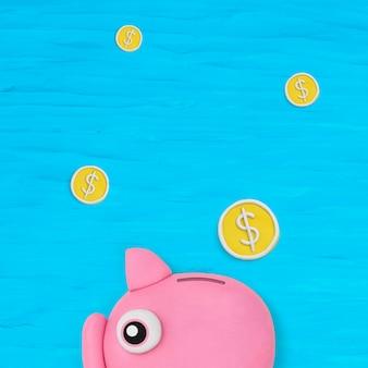 Spaarvarken financiën achtergrond diy droge klei creatieve kunst voor kinderen