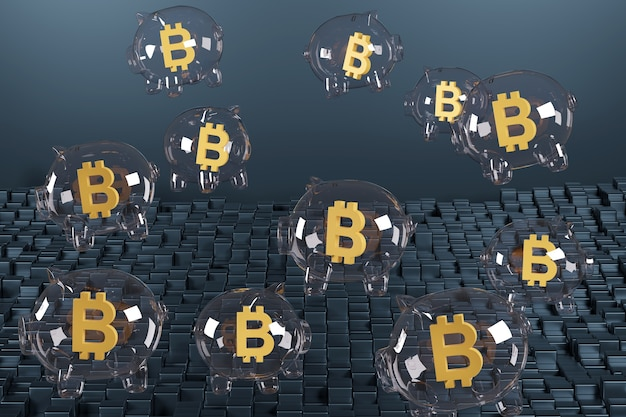 Spaarvarken gevormde bellen met het bitcoinsymbool erin.
