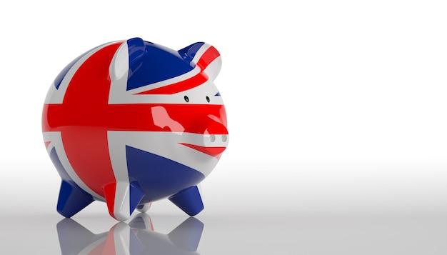 Spaarvarken met britse vlag 3d-rendering