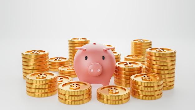Spaarvarken met gouden munt op geïsoleerde witte muur. geld besparen en zakelijke economische investeringen concept