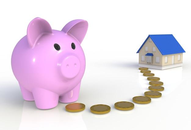 Spaarvarken met munten en huis geïsoleerd op wit