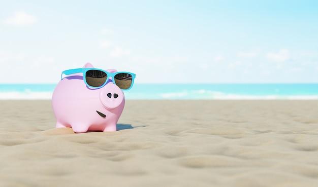 Spaarvarken met zonnebril op de strandvakantie zomer achtergrond