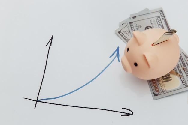Spaarvarken op dollarbankbiljetten en groeigrafiek.