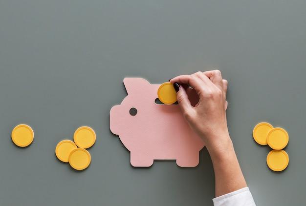 Spaarvarken toekomstige investering in geldbesparingen