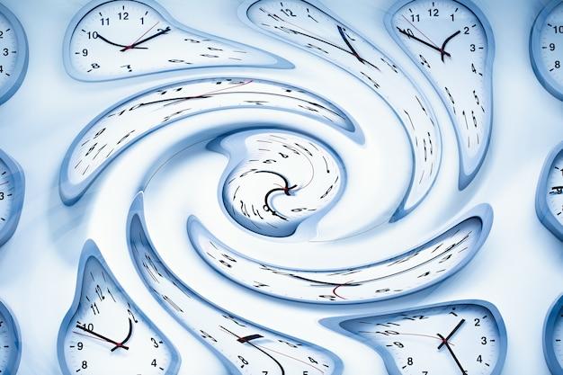 Space and times, clock time twisted distortion voor spacetime warp gebogen gebogen concept