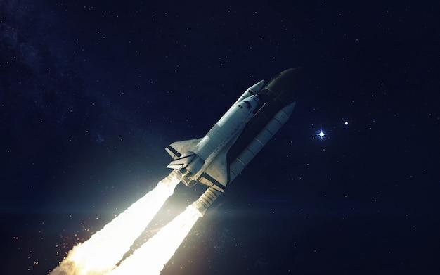 Spaceshuttle in een baan om de planeet aarde