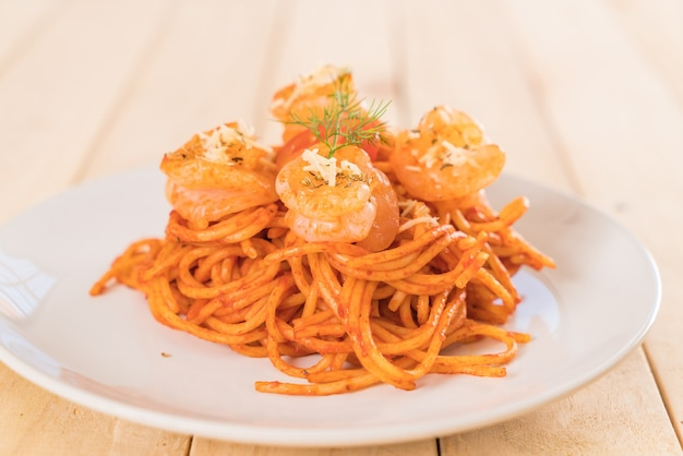 Spaghetti met garnalen