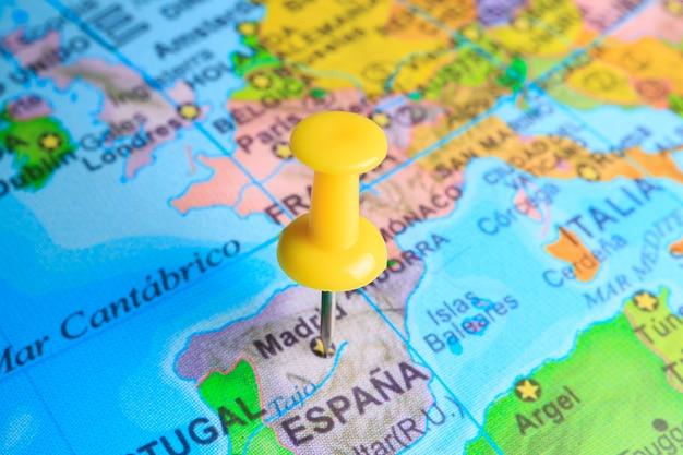Spanje gevestigd op een kaart van europa
