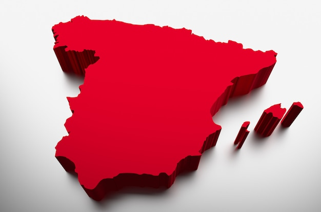 Spanje kaart - 3d illustratie