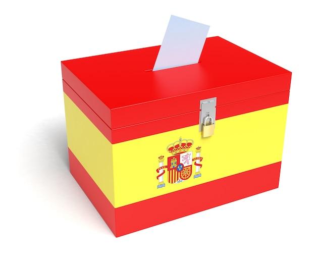 Spanje stembus met spaanse vlag. geïsoleerd op een witte achtergrond.