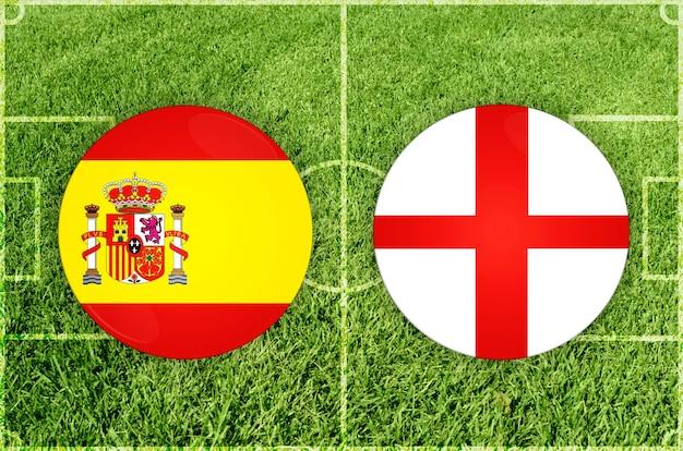Spanje vs engeland voetbalwedstrijd
