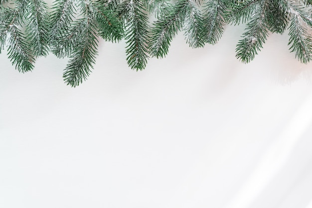 Spartakken in de sneeuw met zonlichtstralen. kerst achtergrond. ruimte voor tekst. bovenaanzicht