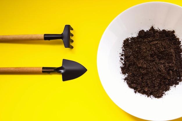 Spatel, harken en plaat met grond voor transplantatie van het zaaien van landbouwplanten. zaailing, teelt. landbouw, tuinbouw.