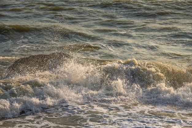 Spatten golf op de zee in de ochtend