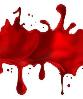 Spatten van rode verf op een witte achtergrond.
