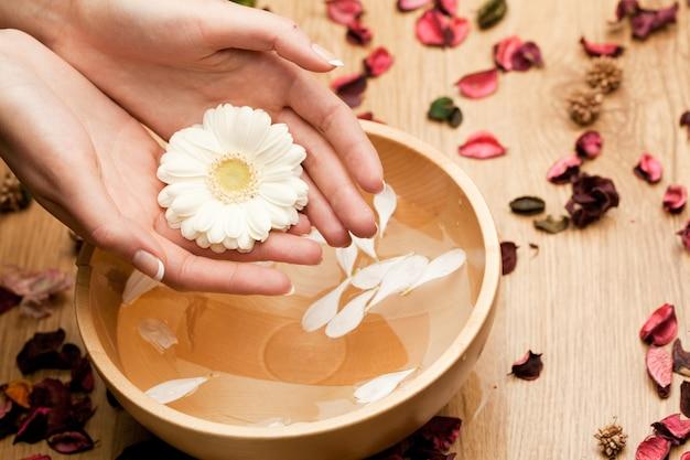 Spawomans handen met bloem