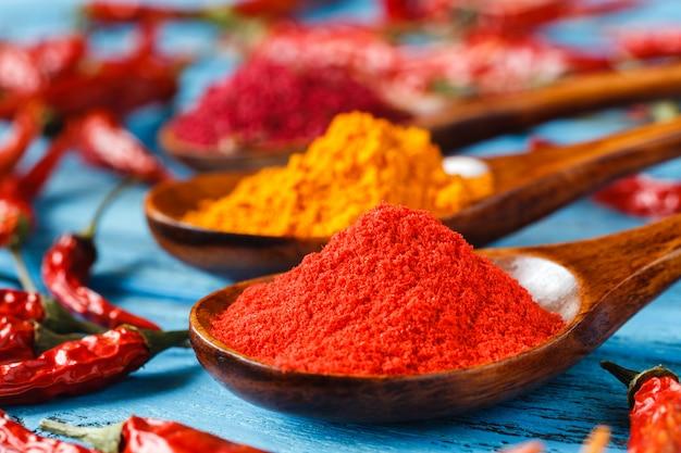 Specerijen. kruid in houten lepel. kruiden. curry, saffraan, kurkuma, kaneel en andere op een rustieke houten achtergrond