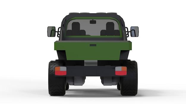 Speciaal terreinvoertuig voor moeilijk terrein en moeilijke weg- en weersomstandigheden. 3d-weergave