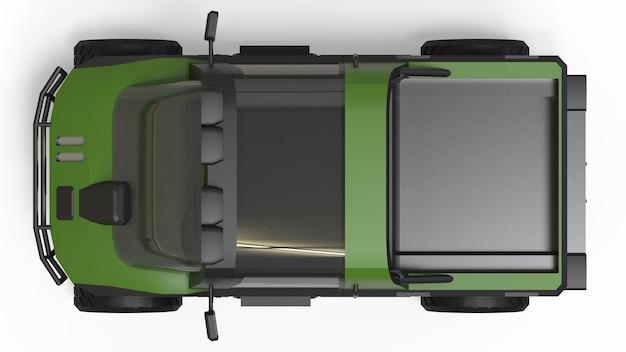 Speciale terreinwagen voor moeilijk terrein en moeilijke weg- en weersomstandigheden. 3d-rendering.