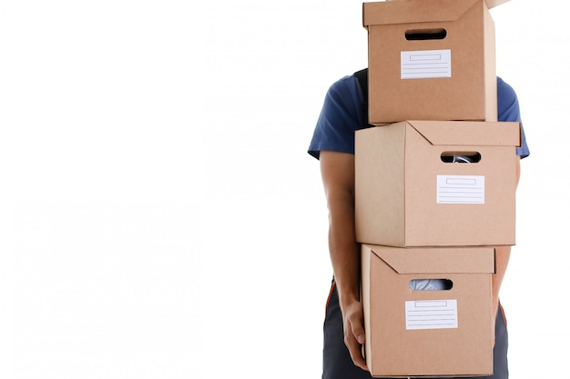 Specialistische koeriers bezorgservice draagt dozen