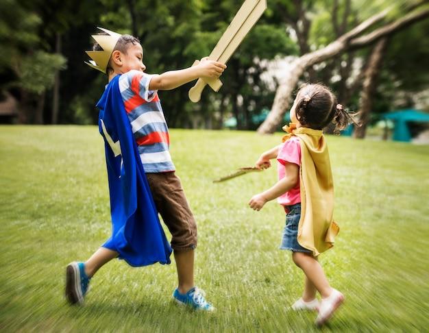 Speel fight sword siblings concept