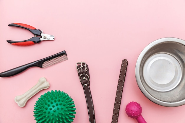 Speelgoed en accessoires voor honden spelen en trainen geïsoleerd op roze pastel trendy achtergrond