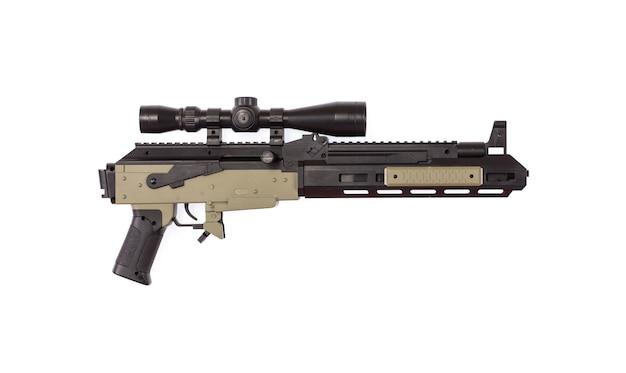 Speelgoed machinegeweer geïsoleerd op witte achtergrond