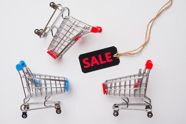 Speelgoed supermarktkarren met verkooplabel