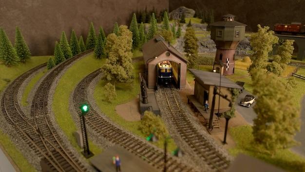 Speelgoed treinstation bovenaanzicht.