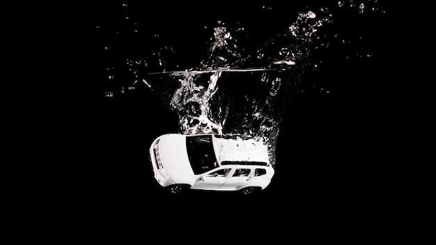 Speelgoedauto ondergedompeld