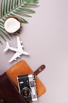 Speelgoedvliegtuig en retro fotocamera met kokosnoot
