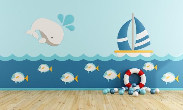 Speelkamer in maritieme stijl zonder meubels. 3d-weergave