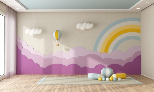 Speelkamer met decoratie op de achtergrond muur