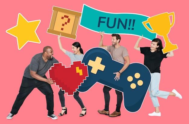 Speelse diverse mensen die gaming-iconen bevatten