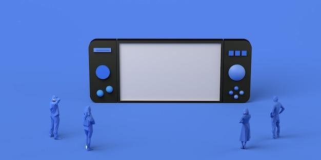 Spelconcept. gigantische gamepad bekeken door mensen. banier. app. ruimte kopiëren.