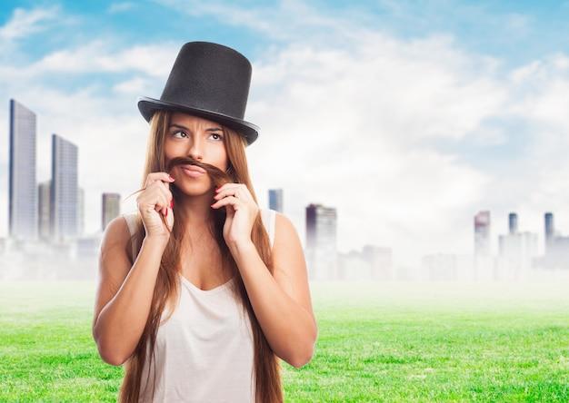 Spelen hoed portret alsof humor