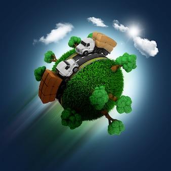 Sphere met bomen en vrachtwagens
