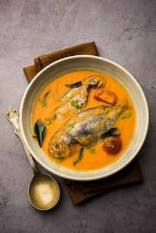 Spicy fish curry - kerala, konkan, bengalen, goa-stijl in rode en bruine kleur, geserveerd met rijst