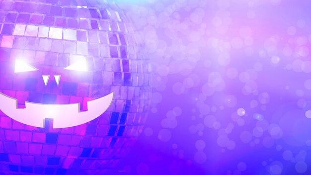 Spiegelbol met halluin-gezicht op gekleurde achtergrond met hoogtepunten. hoge kwaliteit foto