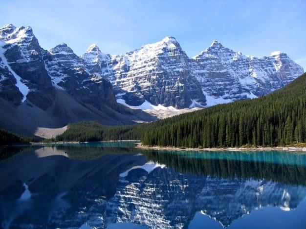 Spiegelen zie morene banff park meer nationale
