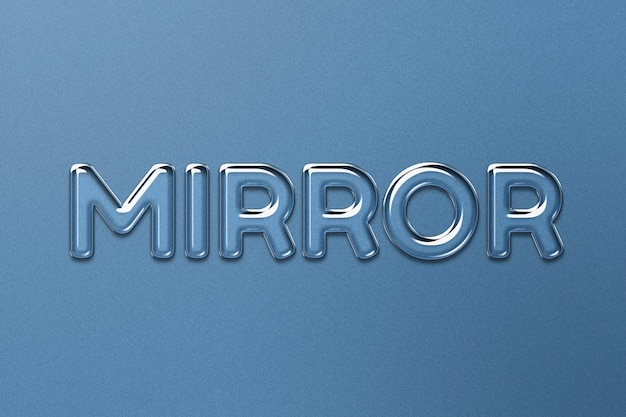 Spiegelwoord in tekststijl met reliëfglas