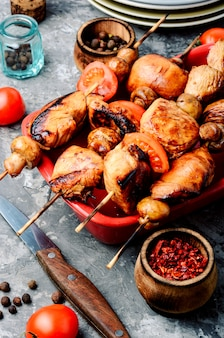 Spiesjes van kip shish kebab