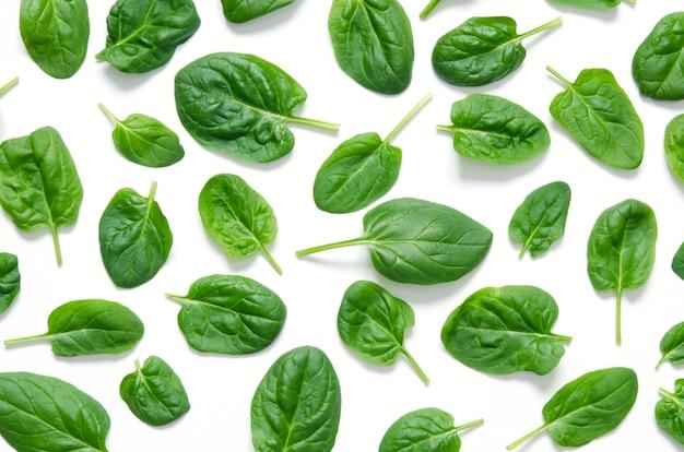 Spinazie bladeren. verse groene spinazie die op een witte achtergrond wordt geïsoleerd