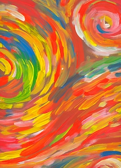 Spiraalvormig rood achtergrondhand getrokken verf abstract art
