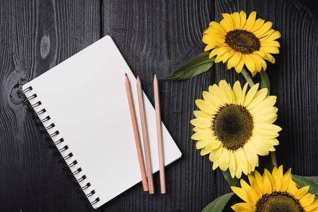 Spiraalvormige blocnote met drie houten potloden met zonnebloemen op houten bureau