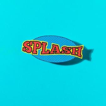 Splash formulering geluidseffect voor komische tekstballon op turkooizen achtergrond