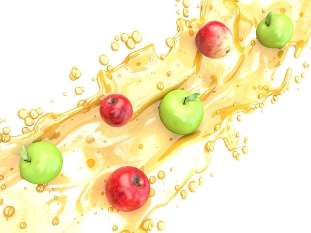 Splash sap met appel geïsoleerd op wit